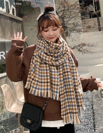 Fashion Houndstooth Houndstooth Fringed Cashmere Padded Collar