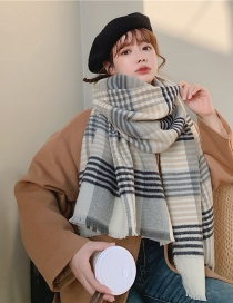 Fashion Gray Checked Frayed Contrast Cashmere Scarf