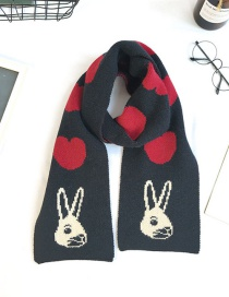 Fashion Black Woolen Knitted Thick Love Rabbit Scarf