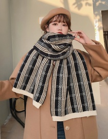 Fashion Black Thickened Plaid Knitted Wool Contrast Color Scarf