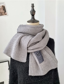 Fashion Gray Knitted Wool Monogram Solid Color Scarf