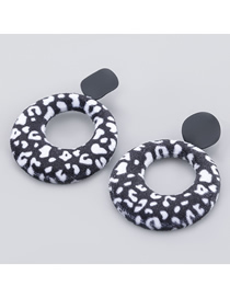 Fashion Black And White Circle Alloy Flannel Leopard Earrings