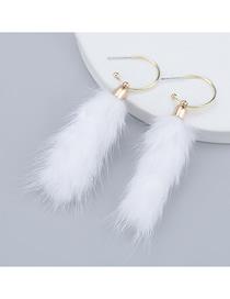 Fashion White Alloy Oval Hair Ball Earrings