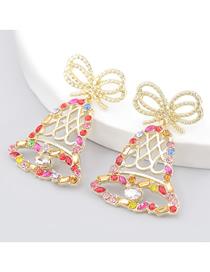 Fashion Color Bowknot Christmas Bells Alloy Diamond Acrylic Earrings