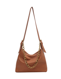 Fashion Yellowish Brown Soft Leather Chain Diagonal Shoulder Bag