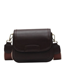 Fashion Coffee Color Chain Stitching Flap Crossbody Shoulder Bag