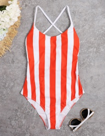 Fashion Red Striped Halter Rope Lace One-piece Swimsuit