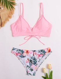 Fashion Pink Floral Print Row Rope Contrast Color Split Swimsuit