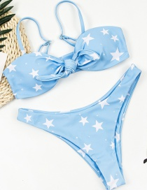 Fashion Blue Star Print Knotted Swimsuit