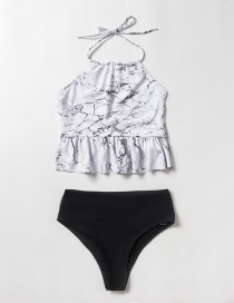 Fashion Color Mixing Contrasting Color Split Swimsuit With Wood Ear Print