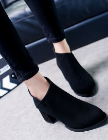 Fashion Black Frosted Chunky Heel Non-slip Shallow Rear Zipper Martin Boots