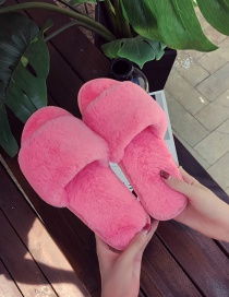 Fashion Watermelon Red One-word Plush Flat Round Slippers