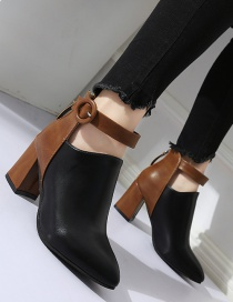 Fashion Black Martin Boots With Pointed Toe Chunky Heel Belt Buckle Back Zipper