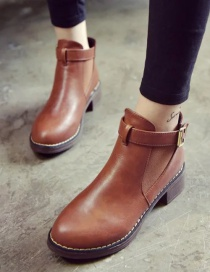 Fashion Brown Martin Boots With Thick And Round Toe Mid-heel Zipper Belt Buckle