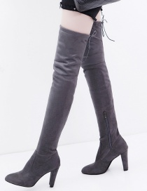 Fashion Gray Over The Knee Lace-up Side Zipper Pointed Toe Boots