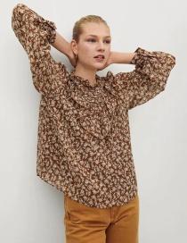Fashion Printing Ruffled Bubble Long-sleeved Round Neck Printed Shirt