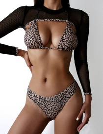 Fashion Black Leopard Print Strappy Three-piece Swimsuit