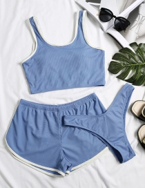 Fashion Blue Solid Color Edging And Contrast Three-piece Swimsuit