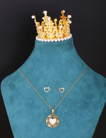 Fashion Suit Geometric Carved Heart-shaped Diamond Hollow Necklace And Earrings