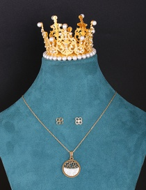 Fashion Suit Geometric Carved Hollow Diamond Necklace And Earrings