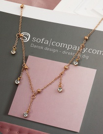 Fashion Golden Alloy Necklace With Round Bead Micro-inlaid Zircon Pendant