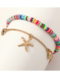 Fashion Golden Soft Ceramic Shell Starfish Alloy Multilayer Anklet
