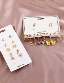 Fashion Suit Eye Shell Butterfly Oil Drop Alloy Geometric Earrings Set