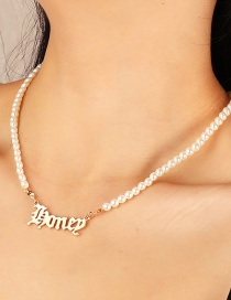 Fashion Golden 4 Imitation Pearl Letter Alloy Hollow Necklace