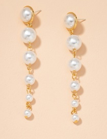Fashion Golden Pearl Earrings Pearl Round Alloy Earrings