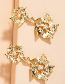 Fashion Golden Inlaid Pearl Flower Hollow Alloy Earrings