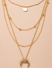 Fashion Golden Crescent Disc Alloy Multilayer Necklace