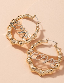 Fashion Golden Bamboo Letter Alloy Hollow Earrings
