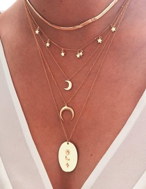 Fashion Golden Multi-layered Necklace With Star And Moon Geometric Alloy Pendant