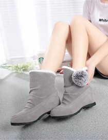 Fashion Gray Round-toe Frosted Mid-tube With Increased Hairball Snow Boots