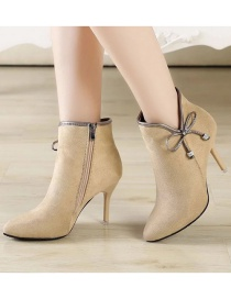 Fashion Apricot Stiletto Pointed Nubuck Leather Bow Boots