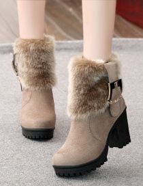 Fashion Khaki Frosted Thick Heel Belt Buckle Non-slip Round Toe Mid-tube Martin Boots