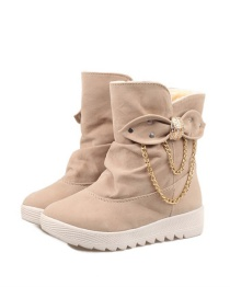Fashion Khaki Flat-bottomed Snow Boots With Round Toe And Bow