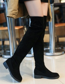 Fashion Black Over The Knee Low Heel Lace Up Boots
