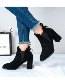 Fashion Black Chunky Heel High Plus Cashmere Pointed Toe Martin Boots