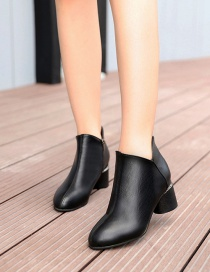 Fashion Brown Pointed Chunky Heel Non-slip Side Zip Shallow Martin Boots
