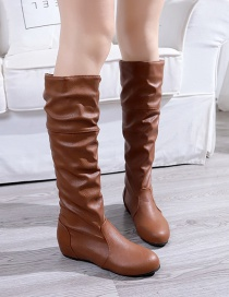 Fashion Brown Round Toe Non-slip Inner Heightening Flat Pleated Boots