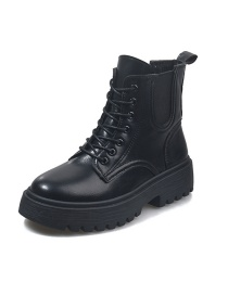 Fashion Black Martin Boots With Round Toe And Thick Heel