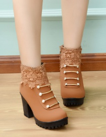 Fashion Brown Chunky Heel Lace Short Boots With Non-slip Side Zipper