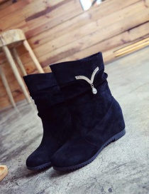 Fashion V Buckle Black Martin Boots With Round Head And Tube