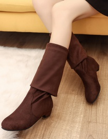 Fashion Brown Round-toed Suede Non-slip Over The Knee Boots