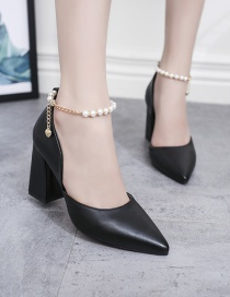 Fashion Black Pointed Thick Heel Hollow Non-slip Pearl Chain Buckle Shoes