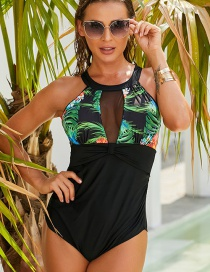 Fashion Printing Printed Mesh And Contrast One-piece Swimsuit