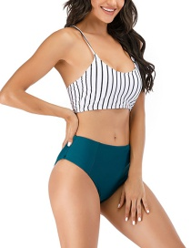 Fashion Green Pants Tube Top Threaded Fabric High Waist Split Swimsuit