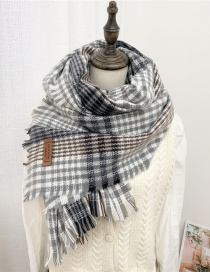 Fashion Striped Gray Brown Double-sided Padded Scarf With Striped Raw Edge Letter Mark