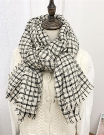 Fashion Striped Small Grime Plaid Frayed Padded Shawl Scarf